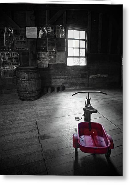 Grist Mill Digital Art Greeting Cards - The Red Wagon Greeting Card by Natasha Marco