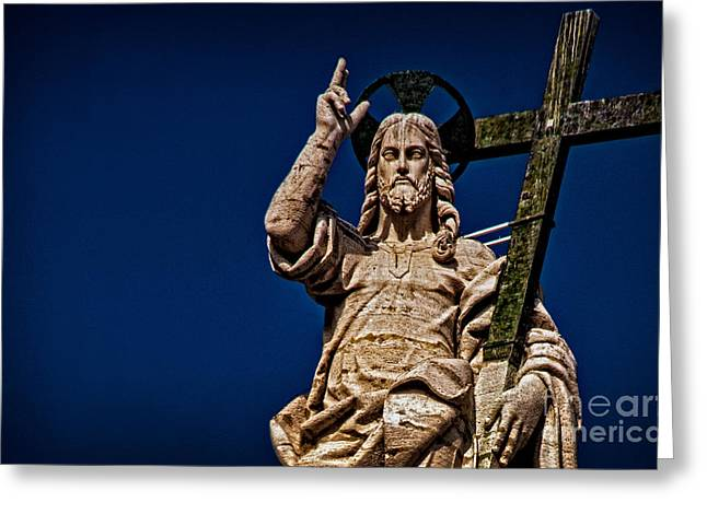 Christ Pyrography Greeting Cards - The Redeemer Greeting Card by Jaymes Williams