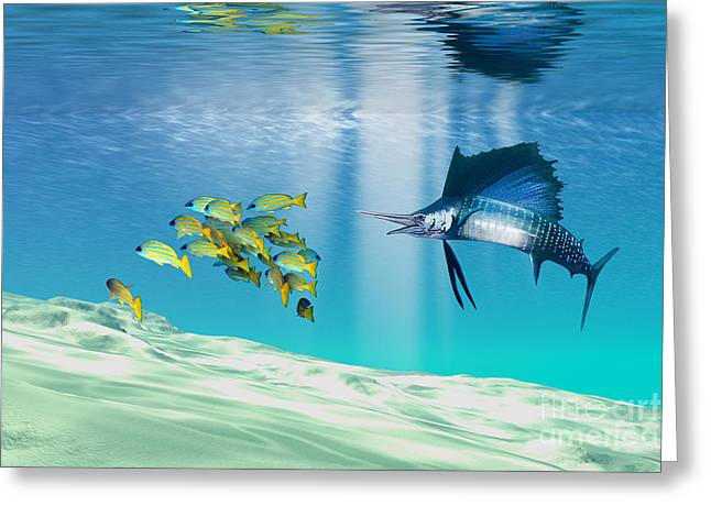 Swordfish Paintings Greeting Cards - The Reef Greeting Card by Corey Ford