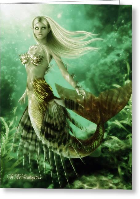 Flowing Blonde Hair Greeting Cards - The Reef Siren Greeting Card by Rachel Dudley