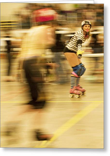 Roller Derby Greeting Cards - The Ref Greeting Card by Theresa Tahara