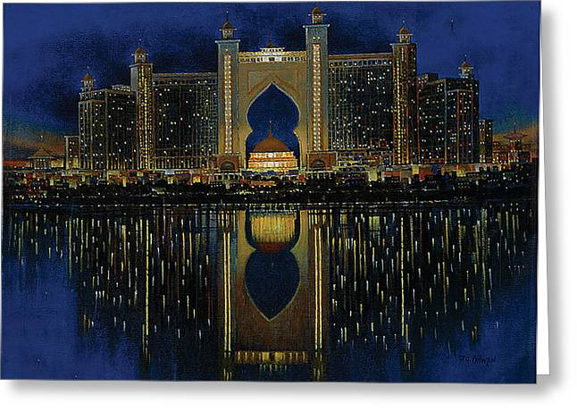 Contemporary Night Scape Greeting Cards - The reflection 2  Greeting Card by Art Tantra