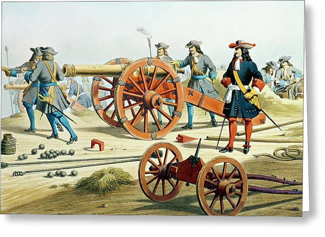 Artillery Gun Greeting Cards - The Regiment of the Kings Fusilliers Greeting Card by French School