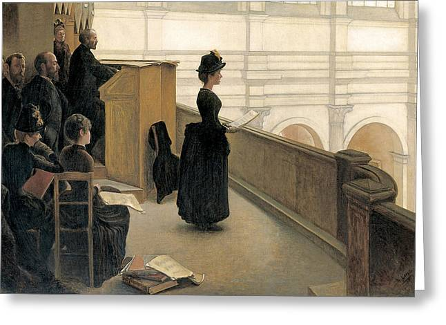 Religious Paintings Greeting Cards - The Rehearsal In The Choir Loft Greeting Card by Henri Lerolle