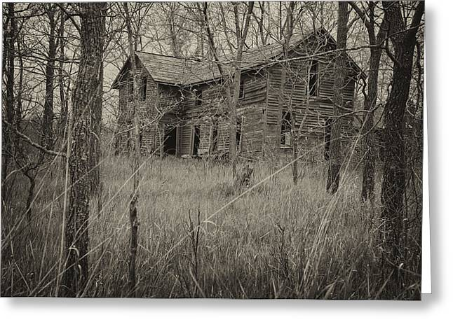 Michigan Farmhouse Greeting Cards - The House in the Woods Greeting Card by Mary Lee Dereske