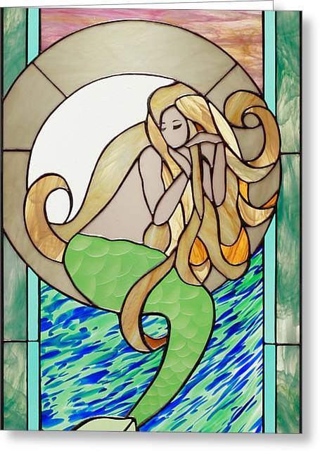Sand Glass Greeting Cards - The Reluctant Siren Greeting Card by David Gomm