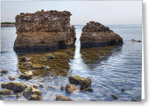 Hdr Photo Greeting Cards - The Remains Of An Ancient Sea Port Greeting Card by Leonardo Marangi