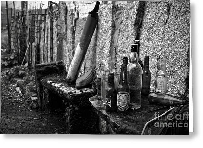 Old House Photographs Greeting Cards - The remains of that distant party BW Greeting Card by RicardMN Photography