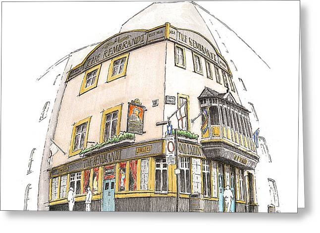 Outlook Drawings Greeting Cards - The Rembrandt Public House Greeting Card by Peter  McEwan