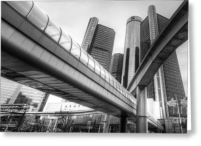 Renaissance Center Greeting Cards - The Renaissance Center Greeting Card by Twenty Two North Photography