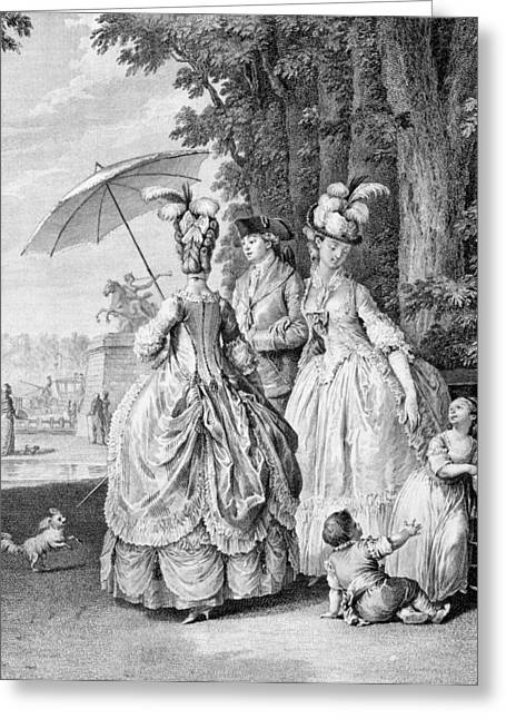 Parasols Greeting Cards - The Rendezvous At Marly, Engraved Greeting Card by Jean Michel the Younger Moreau