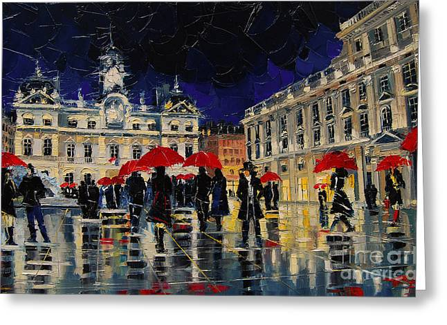 The Rendezvous Of Terreaux Square In Lyon Greeting Card by Mona Edulesco