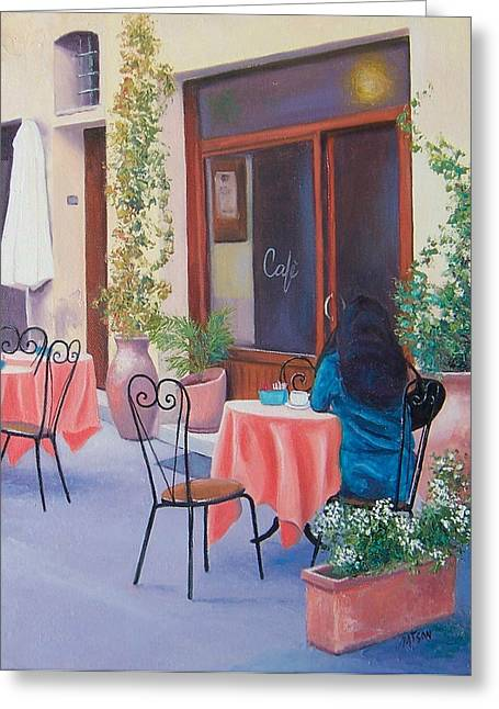 Woman With Black Hair Greeting Cards - The Rendezvous Montalcino Greeting Card by Jan Matson