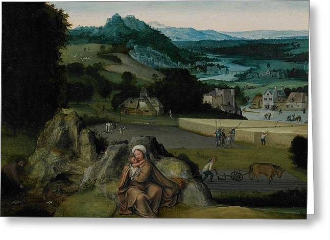 Jesus Mother Greeting Cards - The Rest on the Flight into Egypt Greeting Card by Joachim Patinir