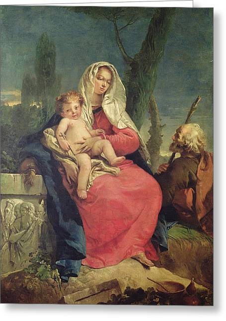 Christ Child Greeting Cards - The Rest On The Flight Into Egypt Oil On Canvas Greeting Card by Giovanni Battista Tiepolo