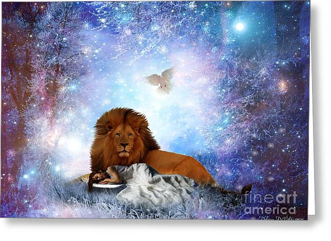 Lions Greeting Cards - The resting Place Greeting Card by Dolores Develde