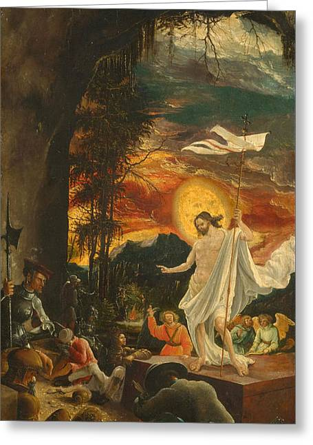 The Resurrection Of Christ Greeting Cards - The Resurrection of Christ Greeting Card by Albrecht Altdorfer