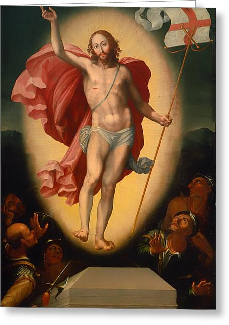 Religious work Paintings Greeting Cards - The Resurrection of Christ Greeting Card by Alonso de Herrara