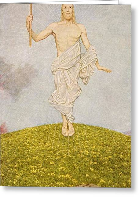 The Resurrection Of Christ Greeting Card by Hans Thoma