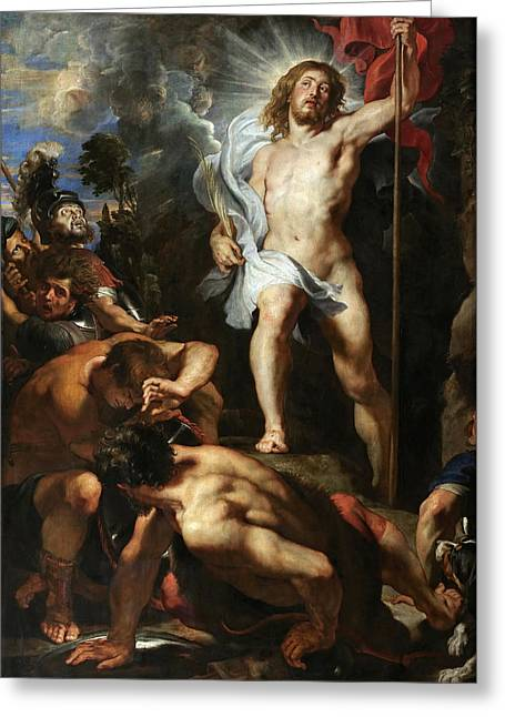 The Resurrection Of Christ Greeting Cards - The Resurrection of Christ.Central Panel Greeting Card by Peter Paul Rubens
