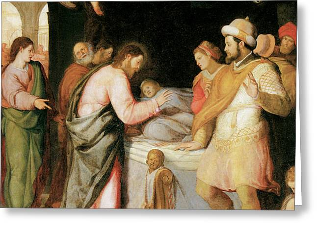 The Resurrection of Jairus's Daughter Greeting Card by Santi Di tito