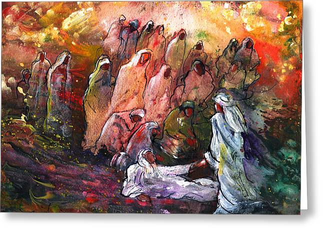 Resurrection Drawings Greeting Cards - The Resurrection Of Lazarus Greeting Card by Miki De Goodaboom