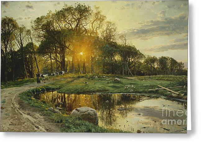 Danish Greeting Cards - The Return Home Greeting Card by Peder Monsted