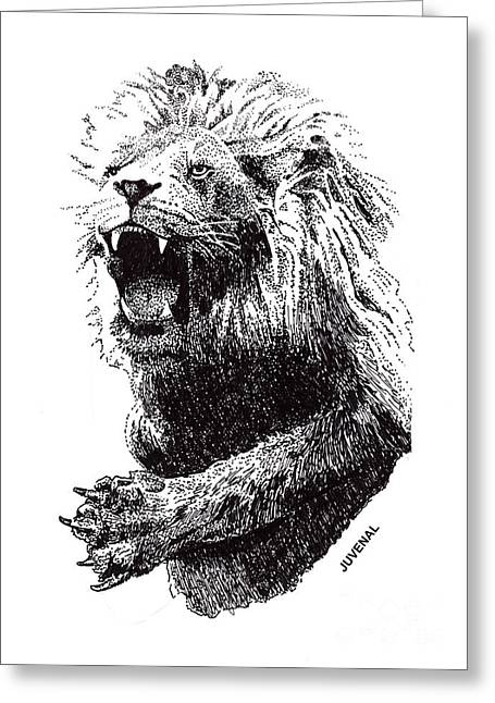 The Christ Ink Drawing Greeting Cards - The Return of Christ Greeting Card by Joseph Juvenal