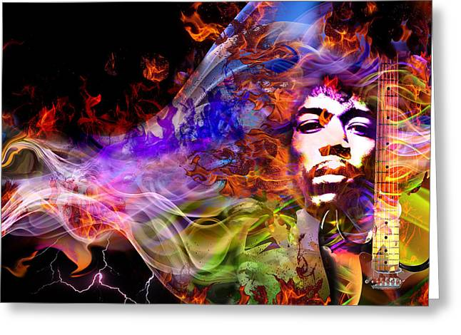Psychedelia Greeting Cards - The Return of Jimi Hendrix Greeting Card by Mal Bray