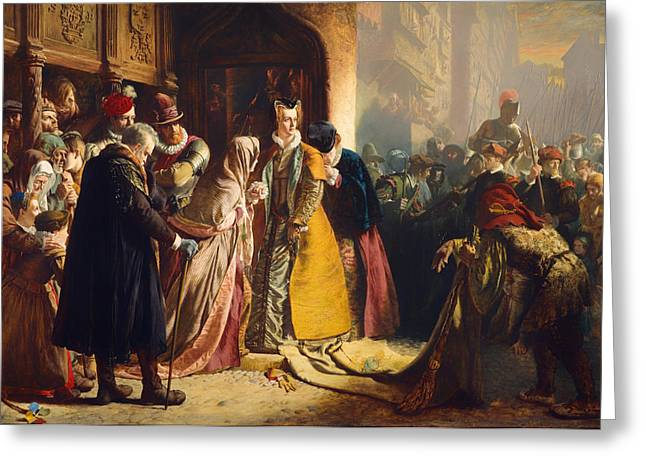 Reception Paintings Greeting Cards - The Return of Mary Queen of Scots to Edinburgh Greeting Card by James Drummond