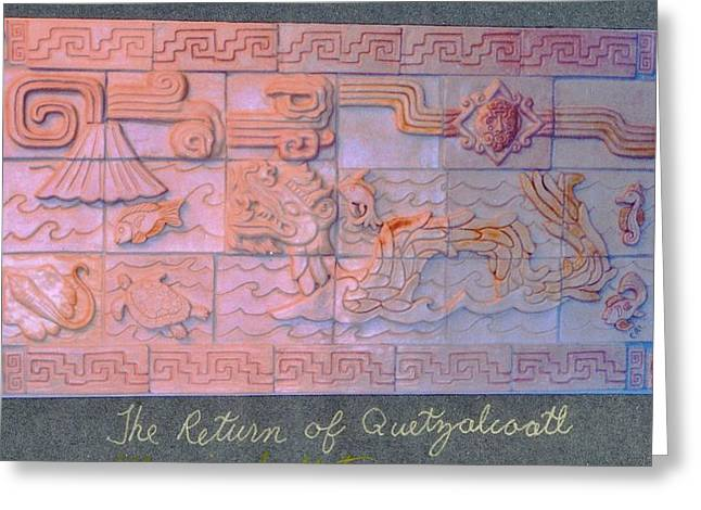 Ceramic Ceramics Greeting Cards - The Return of Quetzalcoatl  Greeting Card by Charles Lucas