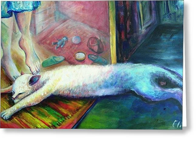 Elisheva Nesis Greeting Cards - The Return Of The Prodigal Cat Greeting Card by Elisheva Nesis