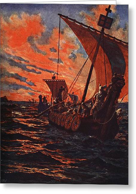 Homecoming Greeting Cards - The Return Of The Vikings Greeting Card by John Harris Valda
