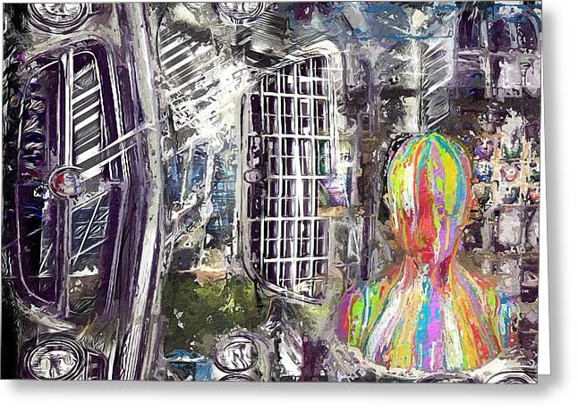 Headlight Mixed Media Greeting Cards - The Reveal Greeting Card by Russell Pierce