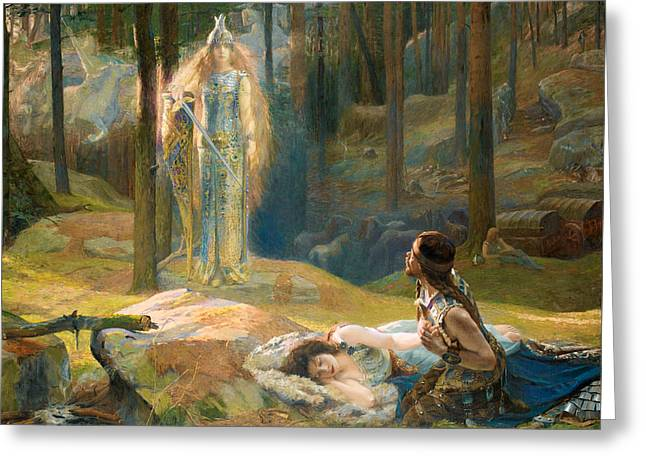 Gaston Greeting Cards - The Revelation. Brunhilde seeing Siegmund and Sieglinde Greeting Card by Gaston Bussiere