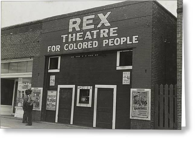 Old House Photographs Digital Art Greeting Cards - The Rex theatre for Negro People Greeting Card by Dorothea Lange