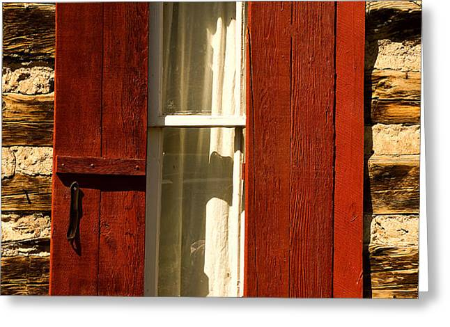 The Reynold's Cabin Window Greeting Card by Catherine Fenner