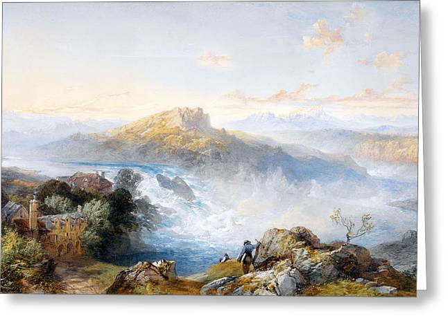 Stone House Greeting Cards - The Rhine Falls at Schaffhausen Greeting Card by James Duffield Harding