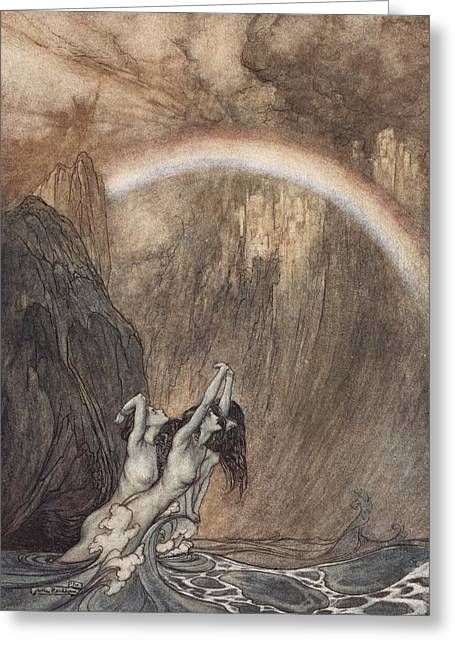 Weeping Greeting Cards - The Rhine s fair children Bewailing their lost gold weep Greeting Card by Arthur Rackham