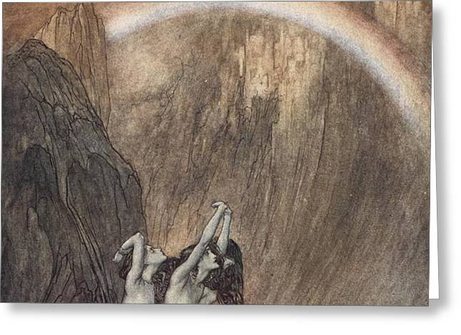 The Rhine s fair children Bewailing their lost gold weep Greeting Card by Arthur Rackham