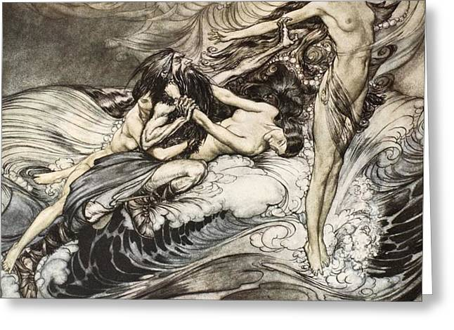 The Rhinemaidens obtain possession of the ring and bear it off in triumph Greeting Card by Arthur Rackham