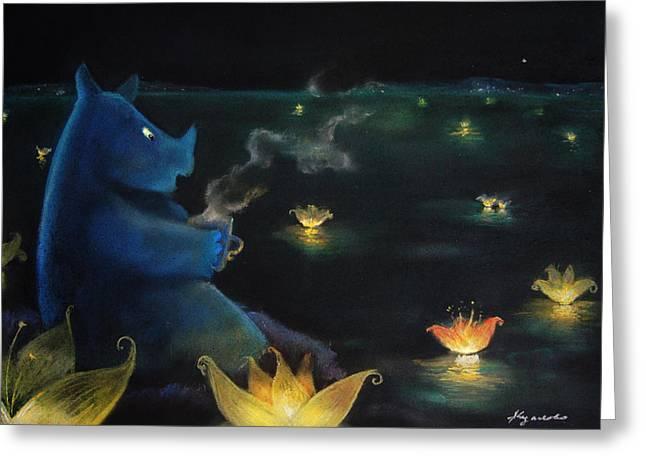 Fantastic Pastels Greeting Cards - The Rhino drinkin tea Greeting Card by Alina  Kuzmenko