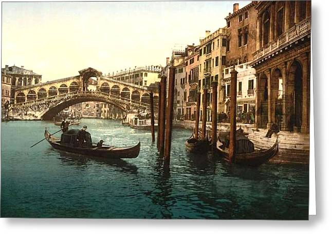 18th Century Mixed Media Greeting Cards - The Rialto Bridge Venice Italy Greeting Card by L Brown