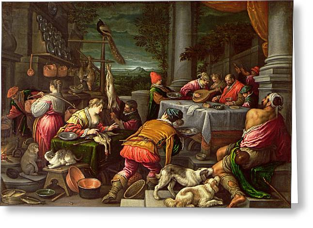 Testament Greeting Cards - The Rich Man And Lazarus, 1590-95 Greeting Card by Leandro da Ponte Bassano