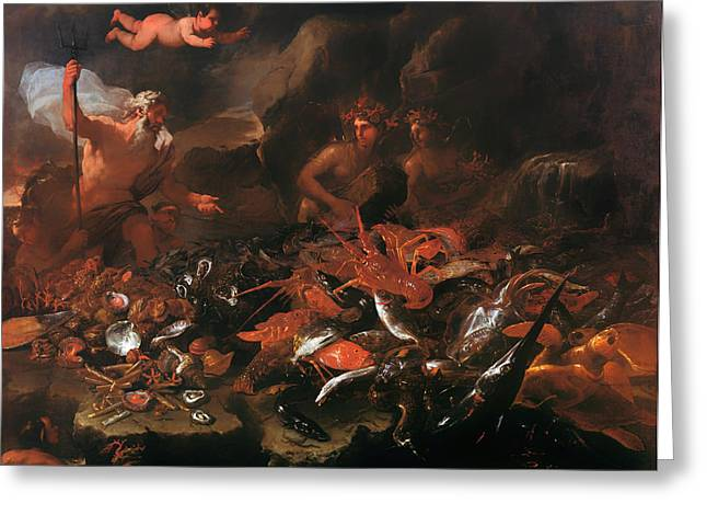 Fabled Greeting Cards - The Riches of the Sea with Neptune Greeting Card by Luca Giordano
