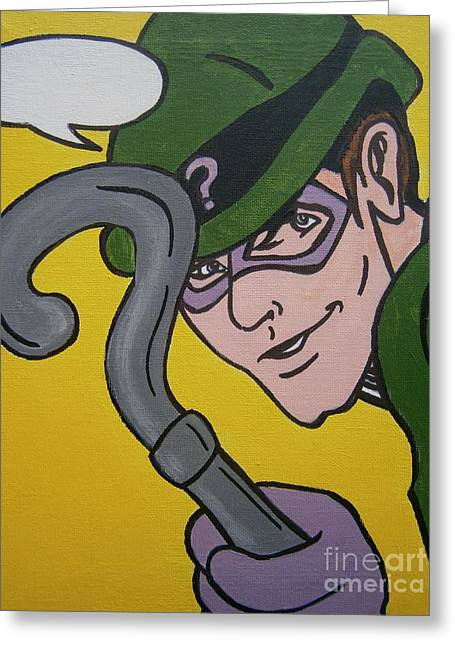 The Riddler Greeting Cards - The Riddler Greeting Card by Neal Crossan