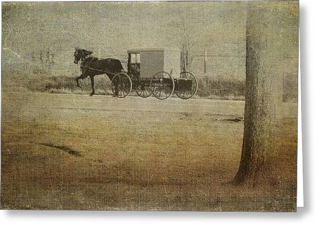 Horse And Buggy Greeting Cards - The Ride Home Greeting Card by Kathy Jennings