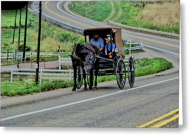 Amish Father Greeting Cards - The Ride Home Greeting Card by Sonja Dover