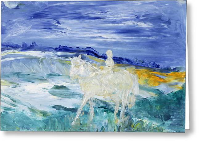 Horse Rider Greeting Cards - The Rider Oil On Canvas Greeting Card by Brenda Brin Booker