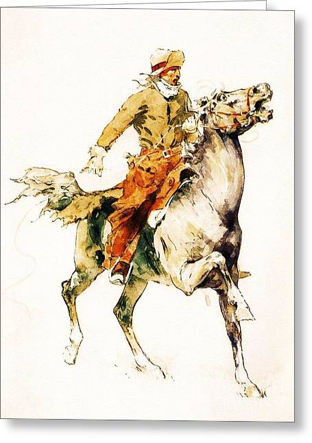 The Rider Greeting Card by Pg Reproductions